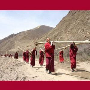 ara biksu sedang menyiapkan pepohononan