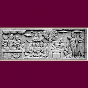 Persembahan chattra dalam relief Karmawibhangga