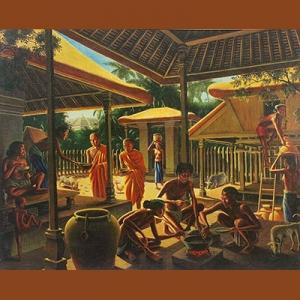 """Lukisan Walter Spies, """"Kehidupan di Borobudur Abad ke-9""""."""