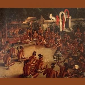 "Lukisan Walter Spies, ""Kehidupan Keraton di Jawa Zaman Borobudur""."
