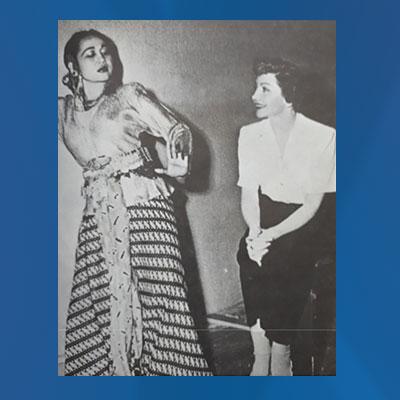 Dewi Dja bersama bintang Hollywood